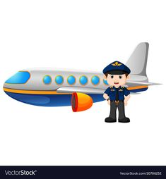 Pilot and airplane on white background Royalty Free Vector Community Workers, Community Helpers, Teacher Cartoon, Art Transportation, People Who Help Us, Flashcards For Kids, Islamic Cartoon, School Frame, Baby Clip Art