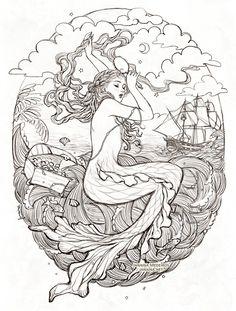 Mermaid by JanainaArtYou can find Vintage mermaid and more on our website.Mermaid by JanainaArt Mermaid Artwork, Mermaid Drawings, Mermaid Tattoos, Mermaid Paintings, Vintage Mermaid Tattoo, Mermaid Illustration, Illustration Art, Art Sketches, Art Drawings