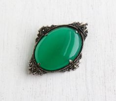 Vintage Art Deco Chrysoprase Brooch - 1930s Silver Tone Marcasite Semi Precious Green Stone Costume Jewelry Pin / Deep Green Oval by Maejean Vintage on Etsy, $38.00