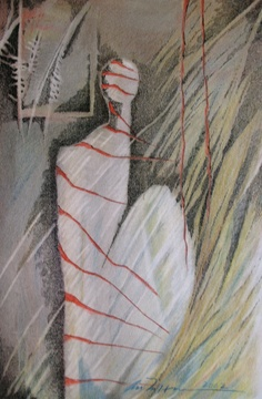 Åse Margrethe Hansen/Waiting. Ink and color pencil, 2002