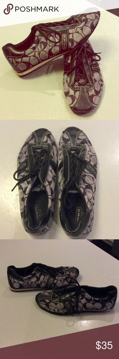 Coach sporty gray and black sneakers😎 Stylish & sporty Coach sneakers.  In good condition - a small rip in fabric on left side heel.  I can send better pics if needed. Coach Shoes Sneakers