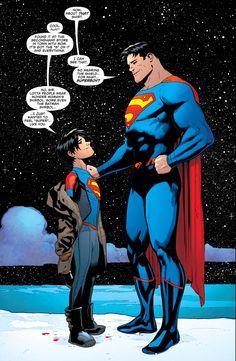 Jon Kent wearing the big S like Superman