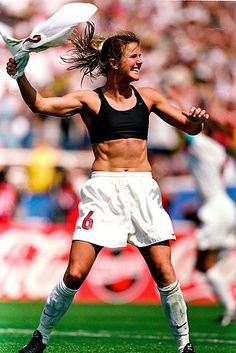 July 10th, 1999: Brandi Chastain celebrates her winning penalty kick against China by taking off her jersey, thus creating one of the most iconic sports images in history. | Remembering The Most Epic U.S. Women's World Cup Moments