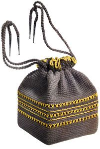 Grey and Yellow Bag crochet pattern from Handbags and Hats, originally published by American Thread Co, Star Book No. 97, in 1953.