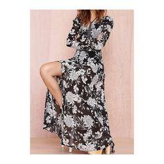 Rotita V Neck Flower Print Black Maxi Dress (155 SAR) ❤ liked on Polyvore featuring dresses, black, maxi dress, floral dress, sleeve maxi dress, black v neck dress and floral maxi dress