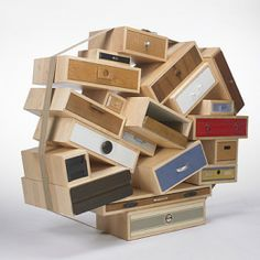TEJO REMY You Can't Lay Down Your Memories Droog The Netherlands/Netherlands, c. 1991 birch, recycled drawers, plastic, metal, canvas 55 w x 33 d x 52 h inches