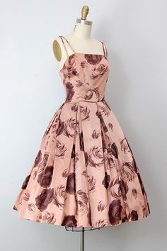 vintage 1950s dress / vintage 50s party dress / rose print 50s cocktail dress