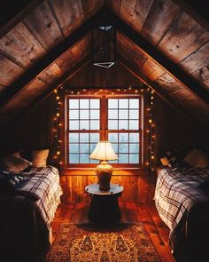 attic guestroom with twin beds