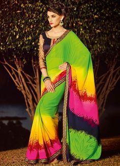 Multicolored Georgette Saree