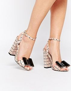 Insanely fun polka dot ASOS Harmony Heeled Sandals with patent bow