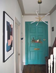 How to make a door look bigger with paint ideas. Bold colours in a hallway. Painting Melamine, Make A Door, Trending Paint Colors, Paint Your House, Ikea Billy Bookcase, Circular Mirror, Paint Line, Paint Brands, Room Planning