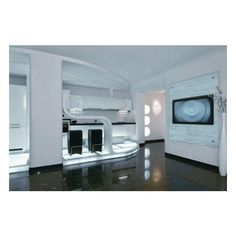 Futuristic Apartment Interior That Reminds A Salt Cave Home Decor ❤ liked on Polyvore featuring home, home decor and futuristic