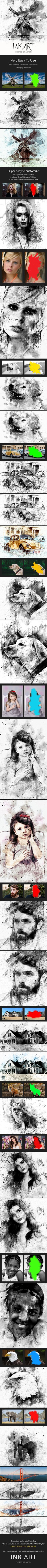 Ink Art Photoshop Action  Advanced — Photoshop ATN #painting #photoshop • Download ➝ https://graphicriver.net/item/ink-art-photoshop-action-advanced/21452148?ref=pxcr