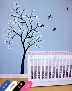 Baby nursery tree wall decal with leaves and birds great as children's room decor Wall stickers 022