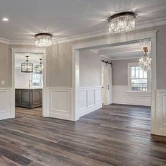 New light wood floors living room paint colors white trim ideas Grey Walls Living Room, Living Room Paint, Living Room Decor, Gray Walls, Living Rooms, Dark Floor Living Room, Grey Wood Floors, Grey Flooring, Wood Paneling