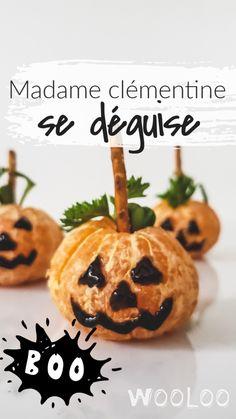 Saviez-vous que les clémentines adoraient l'Halloween? En fait, les nôtres se sont déguisées en citrouilles et on vous partage notre création!  Avec la quantité phénoménale de sucre que les enfants avaleront dans les prochains jours, c'est un bon choix de collation santé thématique et hyper facile à faire. #halloween #collation #santé #enfants #clémentine Menu Halloween, C'est Bon, Caramel Apples, Pineapple, Snacks, Fruit, Desserts, Food, Diy