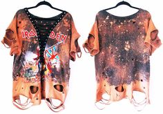 Iron Maiden Trooper Bleached distressed lace up shirts dress