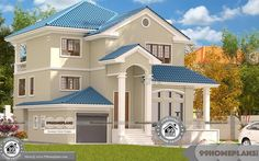 Contemporary Indian House Plans Free with Two Story Home Pattern Ideas, Above 2000 sq ft Villa Plans & Drawings on Unusual Economical Collections & Designs Two Storey House Plans, 2 Storey House Design, House Front Design, Indian Home Design, Kerala House Design, Four Bedroom House Plans, Duplex House Plans, Bungalow Haus Design, House Plans With Pictures