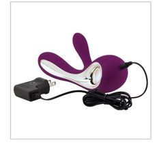 """Lelo Soraya  The little black dress of vibrators. Dual-action, premium vibrator with a flexible clitoral stimulator and two motors. Features eight functions.  9"""" length, 1 1/4"""" diameter. No batteries required. Charger included.  www.rondaharvey.com"""