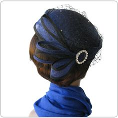 Royal blue and black pillbox @ Finery hats & accessories