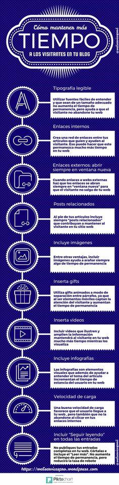 Como mantener mas tiempo al usuario en tu blog #TiempoDePermanencia #Posicionamiento #Blogging #SEO #SocialMedia #Infografía