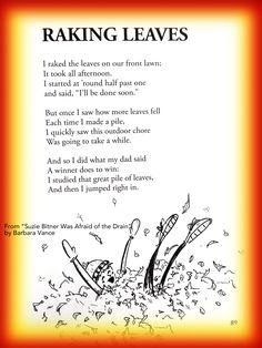 cute Fall Children's poem about raking leaves in Autumn. Great for classroom reading activities. common core first 1st grade, second 2nd grade, third 3rd grade reading #ESL