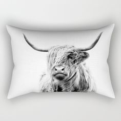 portrait of a highland cow Rectangular Pillow by doritfuhg Throw Pillows Bed, Decorative Throw Pillows, Highland Cow Art, Back Pillow, Monochrome Photography, Cow Print, Just For You, Black And White, Portrait