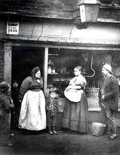 Street scene in Victorian London (b/w photo). Image ID: XJF 142416  bridgemanart.com