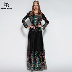 Winter Women Long Dress Floor Length Vintage Black Voile Flower Embroidery Dress $95.03   => Save up to 60% and Free Shipping => Order Now! #fashion #woman #shop #diy  http://www.clothesdeals.net/product/ld-linda-della-2016-winter-women-long-dress-runway-designer-floor-length-vintage-black-voile-flower-embroidery-dress
