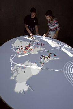 "For the exhibition ""Home and Exile. Jewish Emigration from Germany since ART+COM created an interactive installation. Table Interactive, Interactive Exhibition, Exhibition Display, Exhibition Space, Museum Exhibition, Interactive Design, Interactive Projection, Interaktives Museum, Berlin Museum"