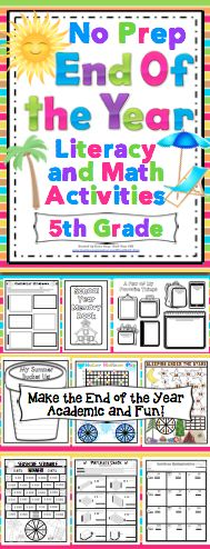 End of the Year No Prep Literacy and Math Activities: 5th Grade - Relax and enjoy the end of the year with your students. This pack is loaded with fun and engaging end of the year activities! $