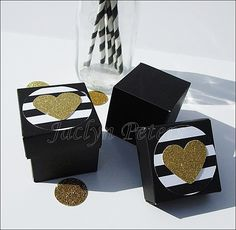Striped Gold Glitter Heart Wedding Favor Boxes