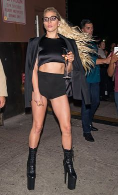 Lady Gaga Sips on a Glass of Champagne While Walking Around New York