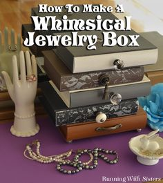 DIY Whimsical Jewelry Box - inspired by Anthropologie - Learn how to create this playful home accent, including how to paint and stencil the drawers, how to drill and attach vintage flea market knobs. Step by step tutorial includes photos and a detailed video tutorial showing how to stencil through lace! Clever Anthropologie hack!