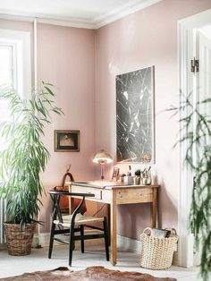 my scandinavian home: An eclectic Copenhagen apartment with attitude - beautiful plaster pink walls Home Office Design, Home Office Decor, House Design, Office Furniture, Furniture Ideas, Office Designs, Country Furniture, Retro Furniture, Wooden Furniture