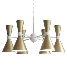 Inspired by a vintage Italian chandelier from the 1960's. The top shades are wired separately from the bottom shades to allow for flexible illumination of your space.   Shown in Brass with our White finish *Priced as shown, call to order in other finish options.   Shade Color: Turquoise, White, Brass, or Custom  Frame Color: Choose from any of our standard finishes or custom.   12 medium based sockets