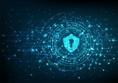 Cyber security concept: Shield With Keyhole icon on digital data background. Illustrates cyber data security or information privacy idea. Blue abstract hi speed internet technology. Hacker Wallpaper, Real Estate Business Cards, Broken Images, Creative Powerpoint Templates, Creative Visualization, Bitcoin Price, Blockchain Technology, Keynote Template, Cyber