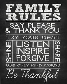 FREE PRINTABLES - Family Rules Cut out on Cricut and put on wall