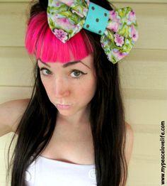 Kawaii Flower Polka Dot Hair Bow by MyPeaceLoveLifeShop on Etsy