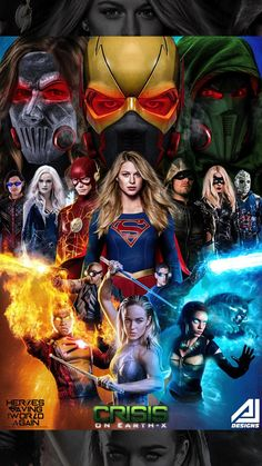 Although I have more shows that are technically aimed at younger audiences, I also watch shows from the CW. ——— Crises on Earth X Arrowverse crossover Heros Comics, Bd Comics, Marvel Dc Comics, Series Dc, Dc Comics Series, Supergirl Dc, Supergirl And Flash, Flash Characters, Girls Characters