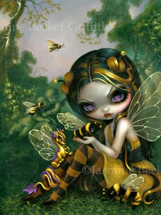 Bumblebee Dragonlings - dragon bee fairy painting by Jasmine Becket-Griffith big eye faery - dragonling bumble bee dragon fairy art from DragonCon 2017