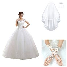 Partiss Women's Short Sleeve Lace Wedding Dress (Chinese L, white dress with golves and veil) Partiss http://www.amazon.com/dp/B011I63L7S/ref=cm_sw_r_pi_dp_zQF-wb1FA2N8S