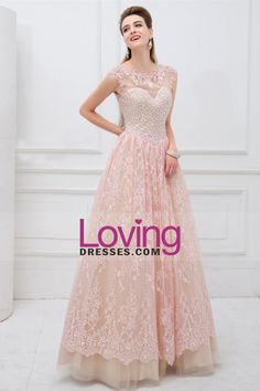 2014 Scoop Neckline Open Back A Line Tulle And Lace Prom Dress Rhinestone Beaded Bodice