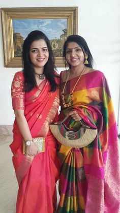 Left: Anchor Divyadarshini wearing red and orange colors combination silk saree with gold sari border, Floral theme rich blouse with elbo. Silk Saree Blouse Designs, Saree Blouse Patterns, Bridal Blouse Designs, Skirt Patterns, Coat Patterns, Clothes Patterns, Sewing Patterns, Indian Silk Sarees, Indian Beauty Saree