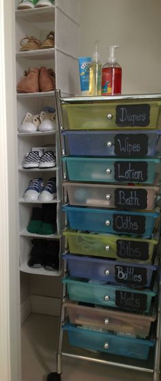 Nursery organization. Cart from Costco. Martha Stewart labels from Staples. Brides chalk pen from Michaels.  Shoe organizer from Walmart.
