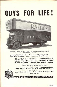 Guy Motors advert, 1939 Vintage Trucks, Old Trucks, Classic Trucks, Classic Cars, Old Lorries, One Of The Guys, Cab Over, Wolverhampton, Busses