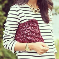 gorgeous maroon sequined clutch.