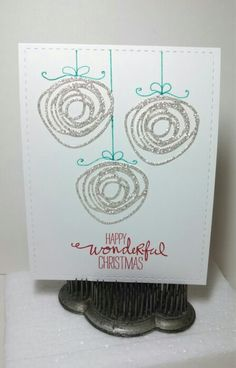 Whimsical Christmas greetings -- Circle Scribbles die (Papertrey Ink), Wondrous Wreath stamp set (Stampin' Up!) sentiment, Lil' Inkers Stitched Rectangles. Designed and created by Jeanie Tavitas-Williams.