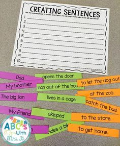 Get this FREE literacy center! Students use the different parts to create a sentence. There are parts that make up sentences that make sense, but students can also make silly sentences. Students can use these during word work or literacy centers to build 2nd Grade Ela, First Grade Writing, 2nd Grade Reading, Grade 1, Third Grade, Second Grade Centers, 5th Grade Grammar, Kindergarten Writing, Teaching Writing