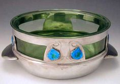 Liberty & Co Archibald Knox Polished pewter bowl with 8 enamel blue/green plaques England c.1905